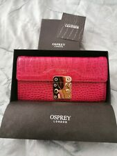 New Boxed Designer Osprey Regent Leather Matinee Fushia Large Purse
