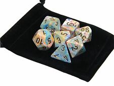 New Chessex Polyhedral Dice with Bag Vibrant Festive 7 Piece Set DnD RPG