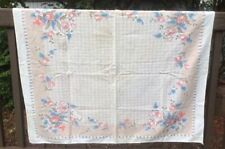 "Vintage Cotton Tablecloth Table Topper printed Stylized Tulips 32"" x 36"""