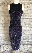 Velvet Dress Sheath Midi Zodiac Mock Neck Ecote Size Small Purple New With Tags