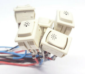 5 x CW Fluorescent Lamp Starter Switch 3A 125V 2 Pole OFF-ON OFF-OFF-(ON) Rocker