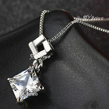 18K WHITE GOLD GF MADE WITH SWAROVSKI CRYSTAL PENDANT SQUARE WOMENS NECKLACE