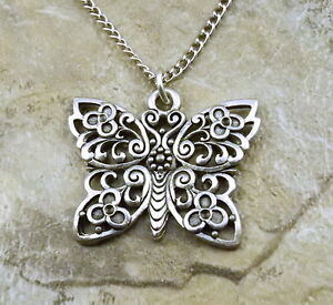 Large Pewter Fancy Butterfly Charm on a Silver Tone Link Chain Necklace - 0166