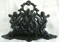 VINTAGE VICTORIAN FRENCH COUNTRY FARMHOUSE CAST IRON CHERUB LETTER HOLDER
