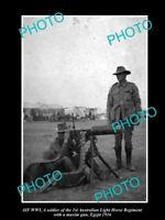 OLD LARGE HISTORIC PHOTO OF AUSTRALIAN ANZAC, 1st LIGHT HORSE, MACHINE GUN c1916