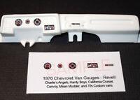 1976 CHEVROLET CALIFORNIA CRUISER VAN GAUGE FACES for 1/25 scale REVELL kits