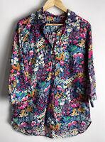 SPORTSCRAFT Liberty Arts Printed Floral Shirt Blouse Size 14 Amazing Print