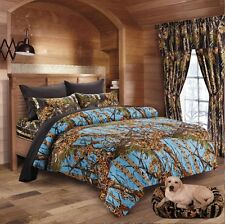 7PC FULL  POWDER BLUE CAMO COMFORTER AND BLACK SHEET SET HUNTER CAMOUFLAGE WOODS
