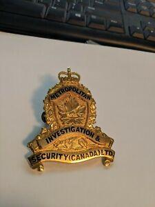 VINTAGE METROPOLITAN INVESTIGATION & SECURITY CANADA LTD CAP BADGE