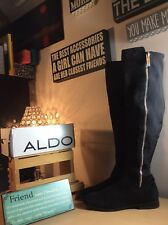 ALDO Black Suede Microfiber Stretch Zip Knee High Riding Boots US 10/41 PreOwned