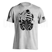 Gas Mask American Survivor Military Men's T-shirt with American Flag