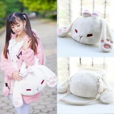 Lolita Girl's Bowknot Bunny Rabbit Plush Cute Handbag Shoulder Bag Kawaii White