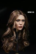 1/6 Elizabeth Olsen Scarlet Witch Long Curl Head For Scarlet Witch Figure Body