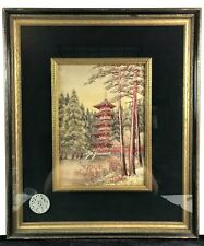 Embroidered Japanese, Asian Silk Art Tapestry Framed Picture: Pagoda, Medallion