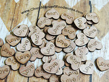 100 wooden love hearts rustic wedding, venue decor, confetti, invitations USA