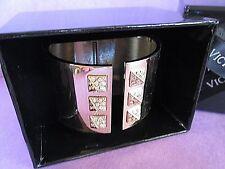 Victoria's Secret Cuff Rhinestone Stud Bracelet Gold Tone New in Box