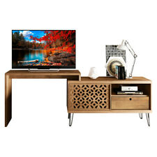 Versatile TV Stand/Desk With Laser Designed Mosaic And Metal Legs