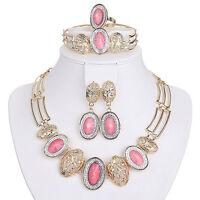 EG_ Wedding Bridal Women's Drop Pendant Chain Necklace Bracelet Earrings Ring Se