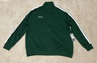ASICS Green White Stripes Track Jacket Sweater Zipper Athletic Running 2XL
