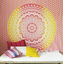 Large Queen Yellow White Ombre Mandala Wall Hanging Tapestry Bedspread B