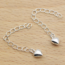 Solid 925 Sterling Silver 6cm Curb Extender Chain w 6mm Puffed Love Heart Charm