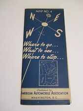 Vintage 1938 AAA MAP #4 MI OH WV IN PA Road Map~Blue Weather Vane Cover