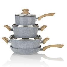 BRATmaxx Keramik Koch und Bratset Granit Holz Optik 7tlg inkl Glasdeckel