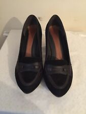 Clarks Bonnie Lad Genuine Leather Black Suede court high heals size uk 7 D