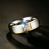 Gold Plated & Stainless Steel Masonic Men's Ring Featuring The Square & Compass