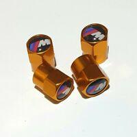 4 Ventilkappen BMW M Sport, Performance, Gold, für Autoreifen, Metall