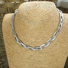 STUNNING HEAVY VINTAGE 1970's STERLING SILVER FLAT  NECKLACE 16''