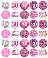 30th Birthday Girl Pink Cupcake Toppers Edible Paper Fairy Cake Topper