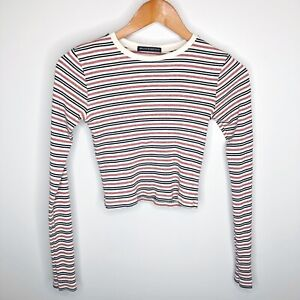 Brandy Melville Striped Long Sleeve Tee Cropped Top NO SIZE ONE SIZE?