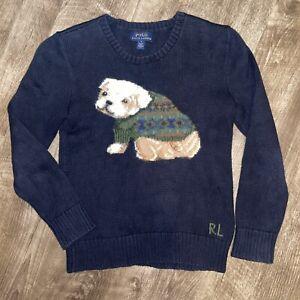 Polo Ralph Lauren Boys Girl Blue Casual Crewneck Bull Dog Pullover Sweater Sz 7