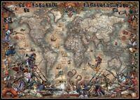 Antique World Map - Chart Counted Cross Stitch Patterns Needlework DIY