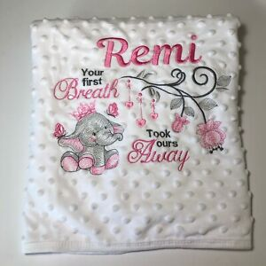 Personalised Baby soft bubble blanket Blanket With Elephant Design boy or girl