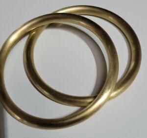 Vintage 65mm 1970's X 2 Satin Gold Brass Slave Golf Bangle Nellie Stewart