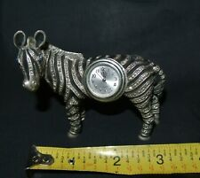 Silver & Black Metal Zebra Figurine Table Clock Blue Rhinestone Eyes New Battery