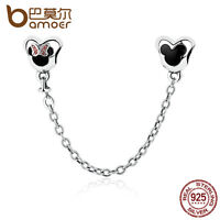 Bamoer c Authentic S925 Sterling Silver Safety Chain Charm Fit Bracelet Jewelry