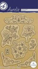 Aurelie claro Sello De Goma Set Jardín Botánico Set 2-De Flores Violetas Rose