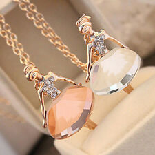 New Ballet Girl White Crystal Chain Pendant Necklace Jewelry Women Birthday Gift