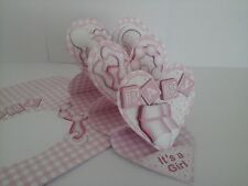 Handmade Baby Girl card 3D Easel design with decoupage and  matching envelope