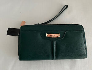 Mimco Everly XL Wallet In Forte Green/Black Rose Gold RRP$299.00