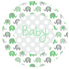 1 x Green Elephant 19cm round personalised baby shower cake topper edible image