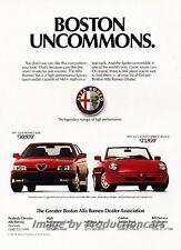 1991 Alfa Romeo 164 and Spider Uncommons Advertisement Print Art Car Ad J799