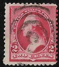 2v0360 Scott 220 US Stamp 1890 2c Washington Used Bullseye Cancel