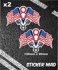 V8 AMERICAN FLAGS Stickers V8 Highway Pontiac Mustang Corvette Muscle Car USA