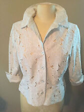 Womens Ladies Jacket Designer CAbi Off White Lace 3/4 Sleeve Spring Summer NEW