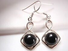 Black Onyx Circle in Square 925 Sterling Silver Dangle Earrings Corona Sun