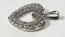 14KT White Gold Pendant- Heart Shape w/ Diamonds 3.3 grams # I-2578